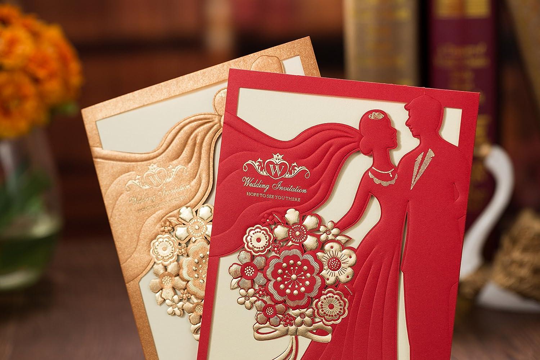 PONATIA 25PCS Laser Cut Bride and Groom Invitations Card for Wedding ...
