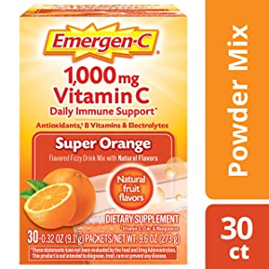 Emergen-C Vitamin C 1000mg Powder (30 Count, Super Orange Flavor, 1 Month Supply), With Antioxidants, B Vitamins And Electrolytes, Dietary Supplement Fizzy Drink Mix, Caffeine Free