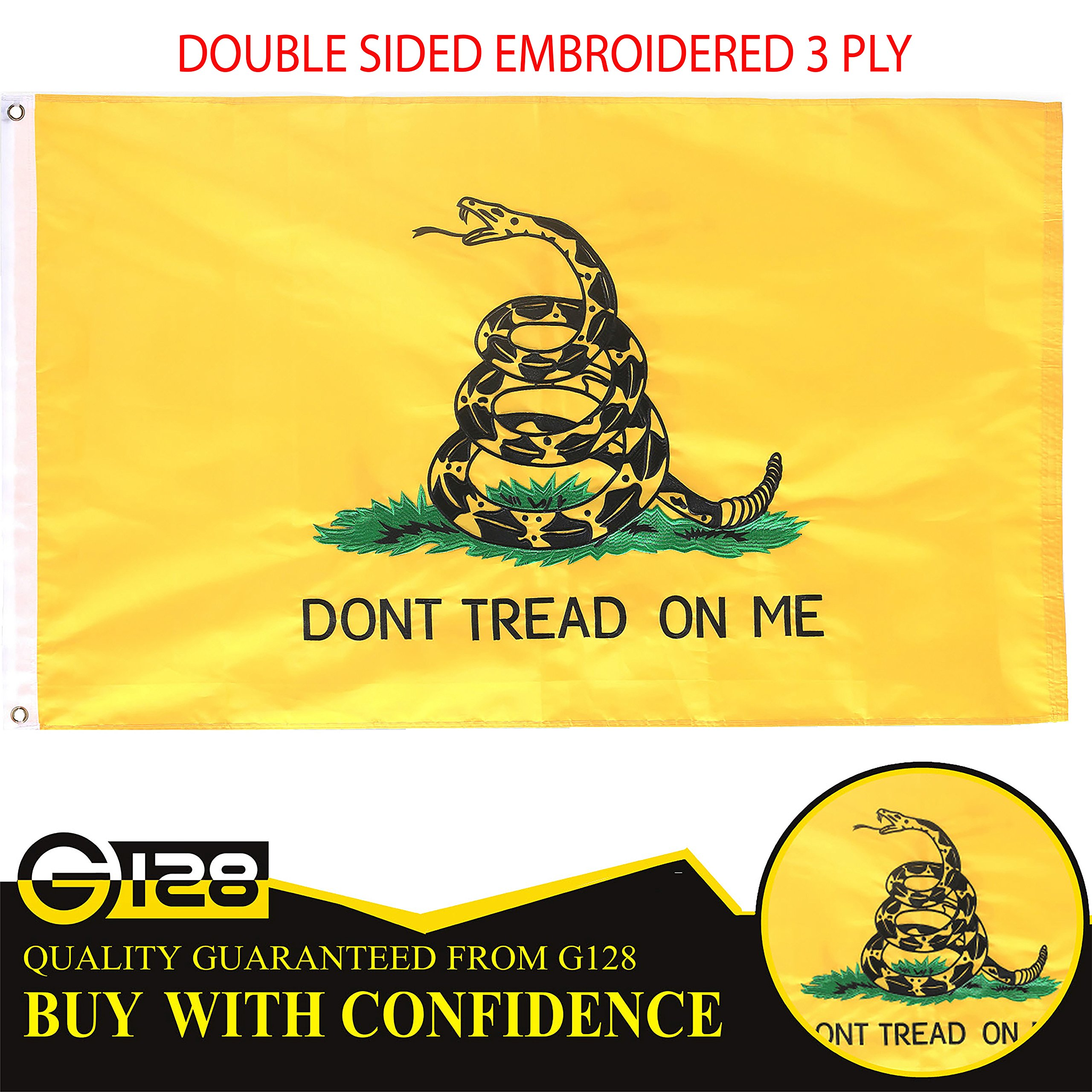 G128 – Dont Tread on Me (Gadsden) Flag | 3x5 feet | Double Sided Embroidered 210D – Indoor/Outdoor, Vibrant Colors, Brass Grommets, Heavy Duty Polyester, 3-ply