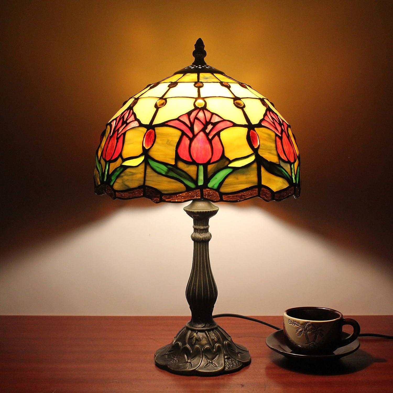 10 Inch Tulip Pastoral Retro Antique Tiffany Table Lamp Bedside Lamp