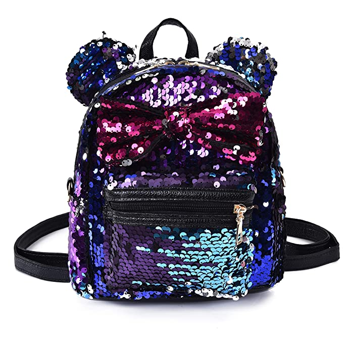 425c916fe1e0 Sequin Backpack Cute Backpack Shoulder School Fashion Backpack Ears Bowknot  Bag for Girls Women