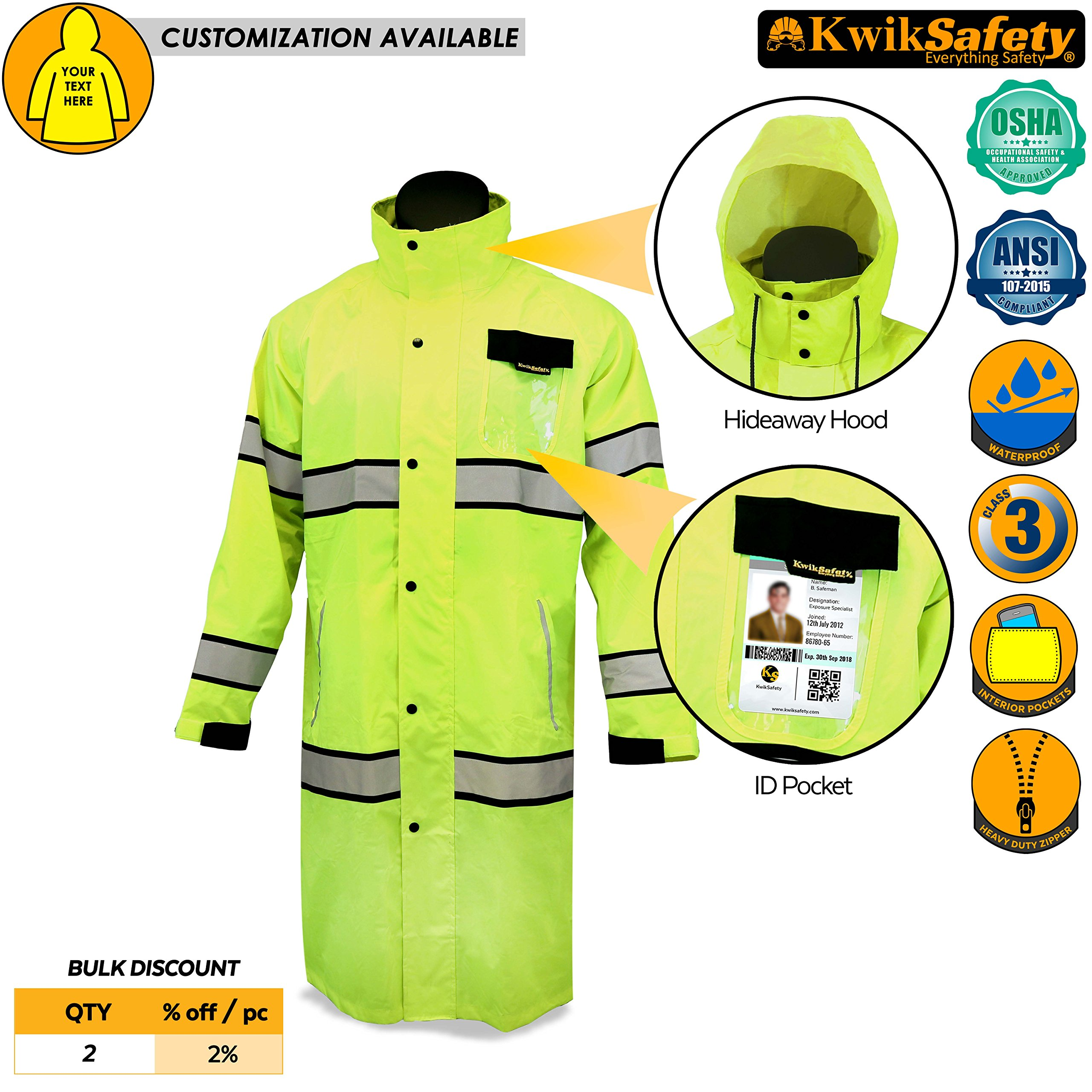 KwikSafety TORRENT | High Visibility Class 3 Safety Trench Coat | Waterproof Windproof Safety Rain Jacket | 360° Hi Vis Reflective ANSI Compliant Work Wear | Rain Gear Hideaway Hood Carry Bag | XL