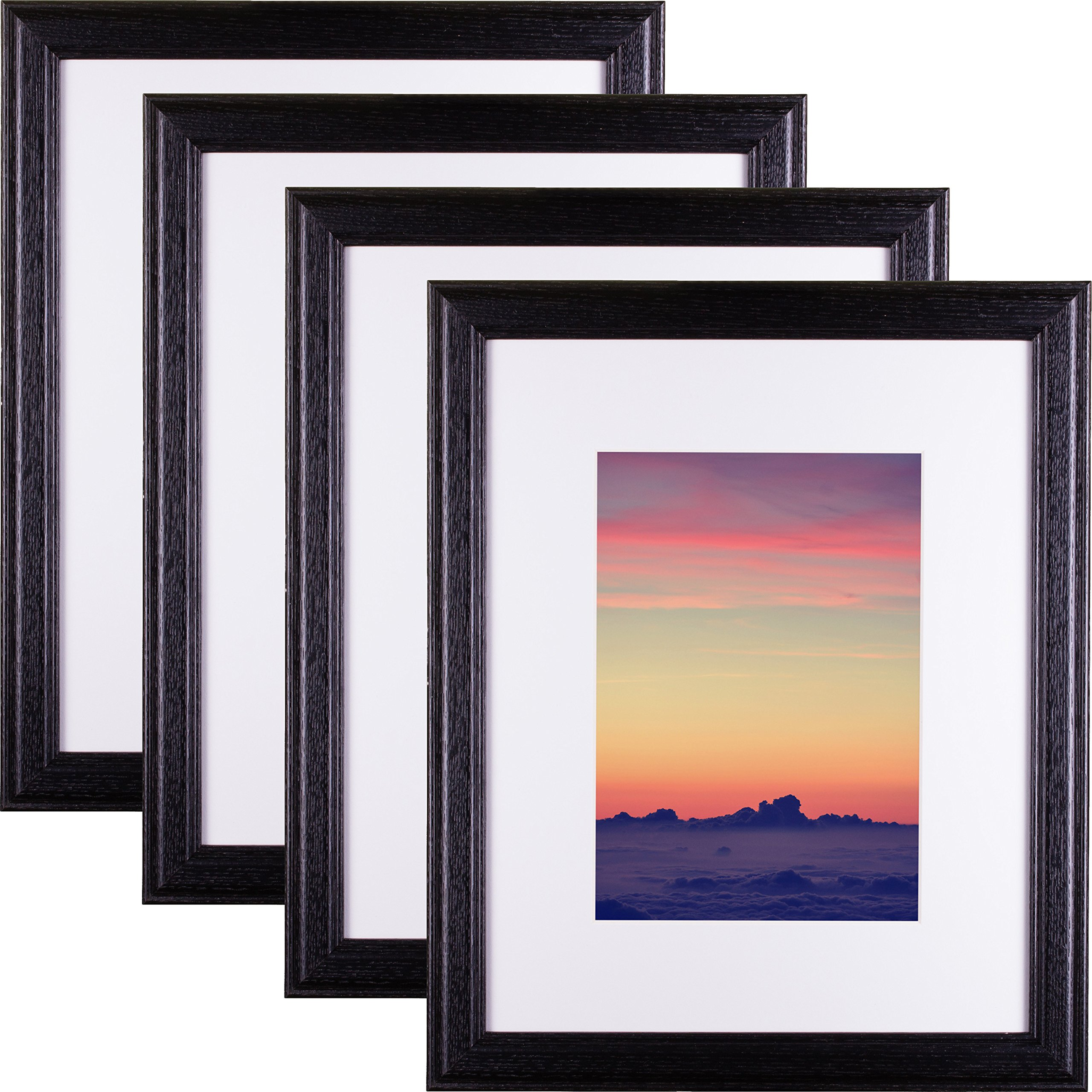 Craig Frames Wiltshire 236 Hardwood Picture Frame with Single White, Displays a 8 x 12 Inch Print with the Mat or 11 x 17 Inch without the Mat, Black, Set of 4
