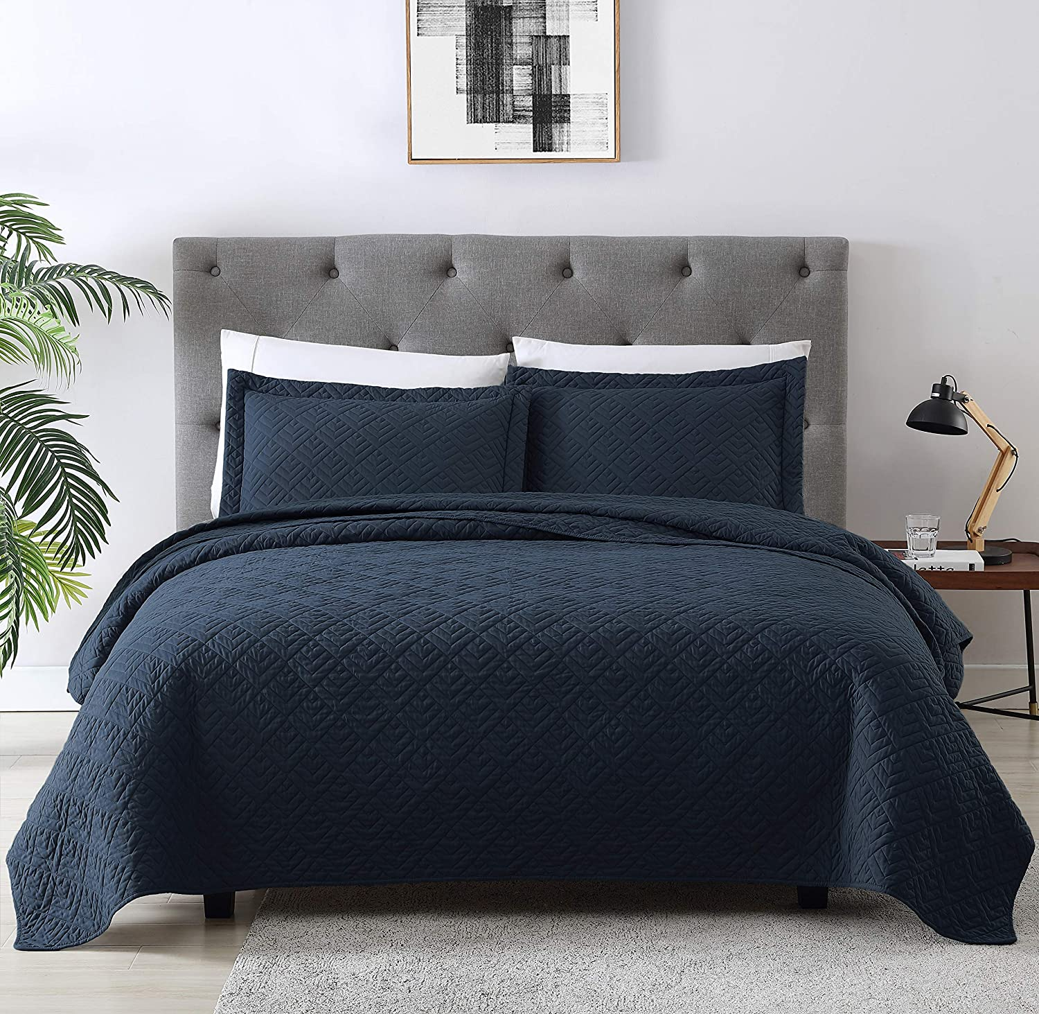 EXQ Home Quilt Set Full Queen Size Navy 3 Piece,Lightweight Microfiber Coverlet Modern Style Squares Pattern Bedspread Set