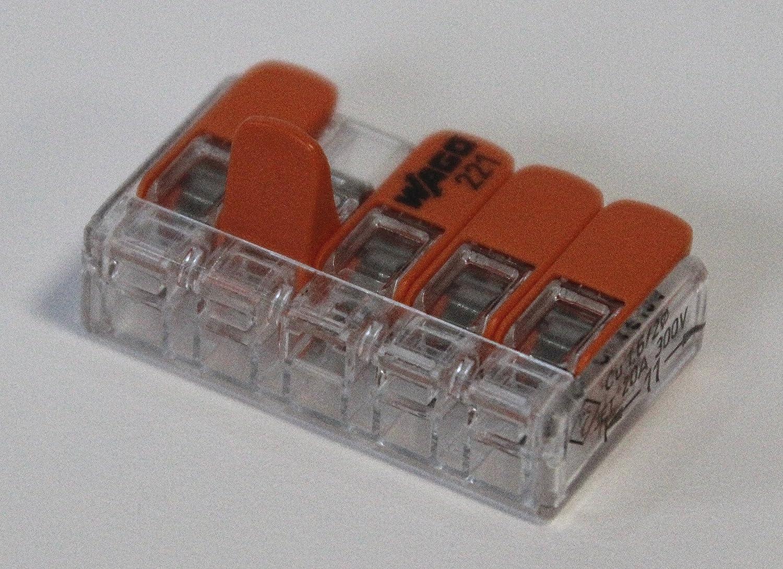 25 x 221-412, 25 x 221-413, 25 x 221 415 Set de 75 connecteurs de c/âble - Avec bo/îte refermable Wago 221
