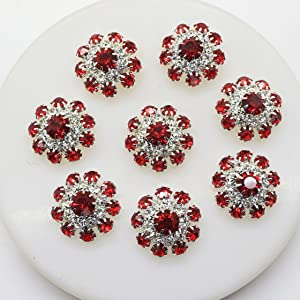 20pcs 20mm Red Round Rhinestones Diamond Buttons Decorative Beads DIY Craft Embellishment for Headbands Hair Bows Wedding Bouquet Clothes Accessories with Hole for Sewing Christmas Buttons (Red)