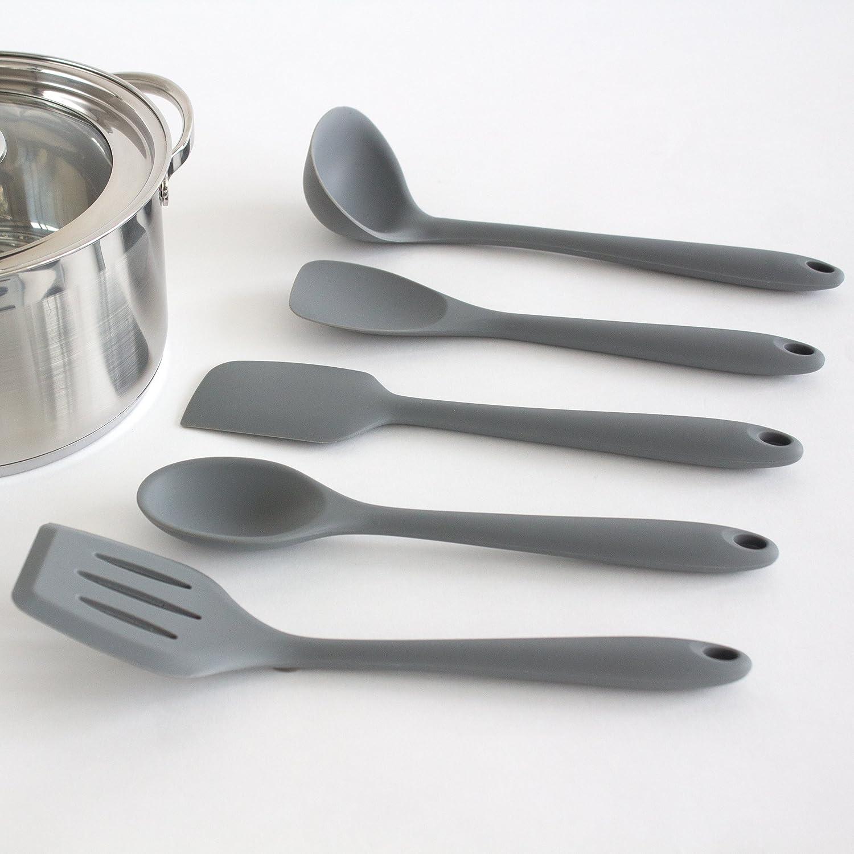Oxid7® Küchenhelfer-Set / 5-teiliges Küchenbesteck-Set Silikon/Nylon ...