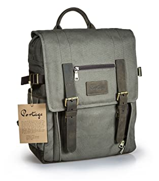 925cf2228 Amazon.com : Portage Kenora Waxed Canvas Leather Backpack for Camera ...
