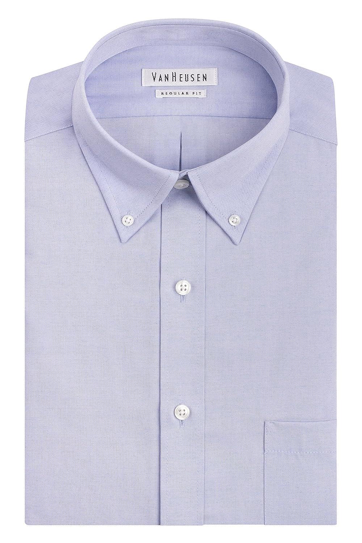 Van Heusen Mens Pinpoint Regular Fit Solid Button Down Collar Dress