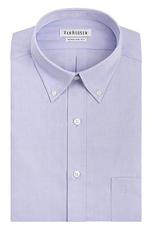09588d40b682b Van Heusen Men s Pinpoint Regular Fit Solid Button Down Collar Dress Shirt