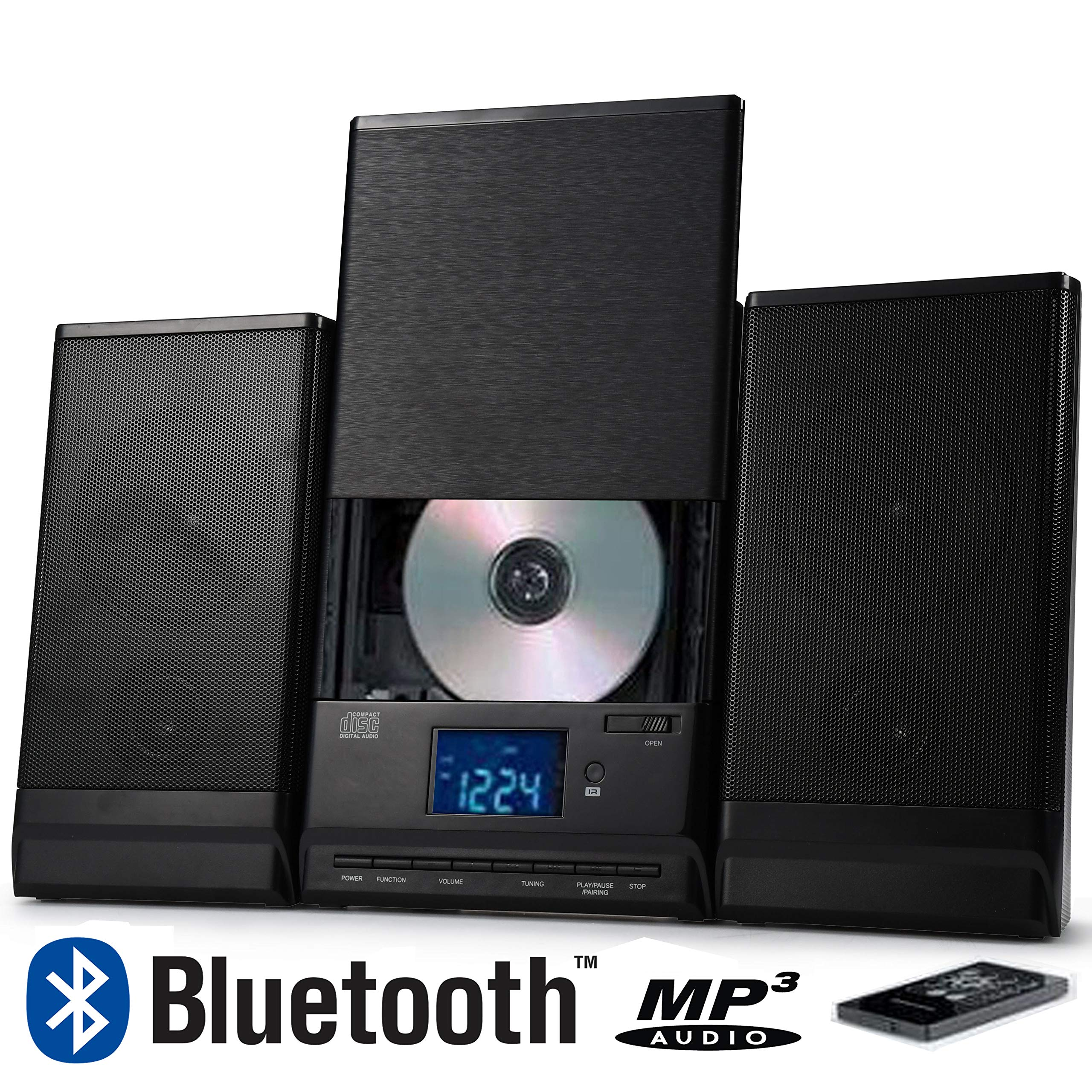 ONN Bluetooth ONA-015 B Audio Compact Home CD Music Shelf System Vertical-Loading with Stereo Dynamic Speakers - Refurbished
