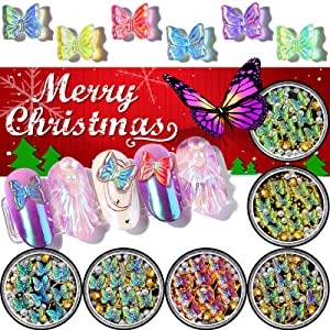 Butterfly Nail Rhinestones, Christmas Resin Holographic Nail Art laser Charms, 6 Pots Mixed Gold Line Leaf Sparkle Metal Gem Set, Iridescent Tiny Artificial Pearl Gold Beads DIY 3D Nail Art Decor