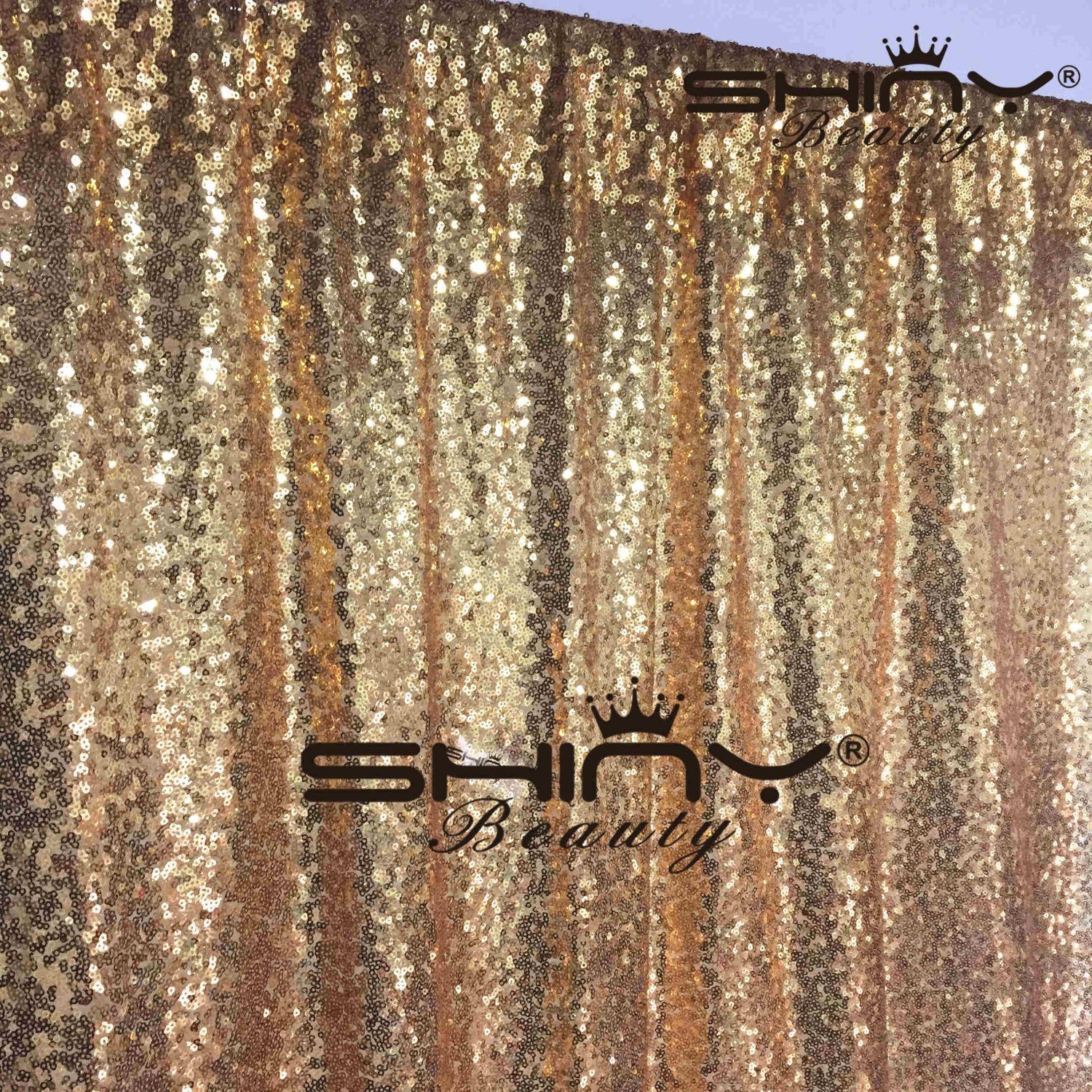 DUOBAO 4FTX15FT-Gold-Sequin Backdrop Photo Booth Background Sequin Curtain Sequin Photography For Xmas Decoration-Pack of 10 by DUOBAO