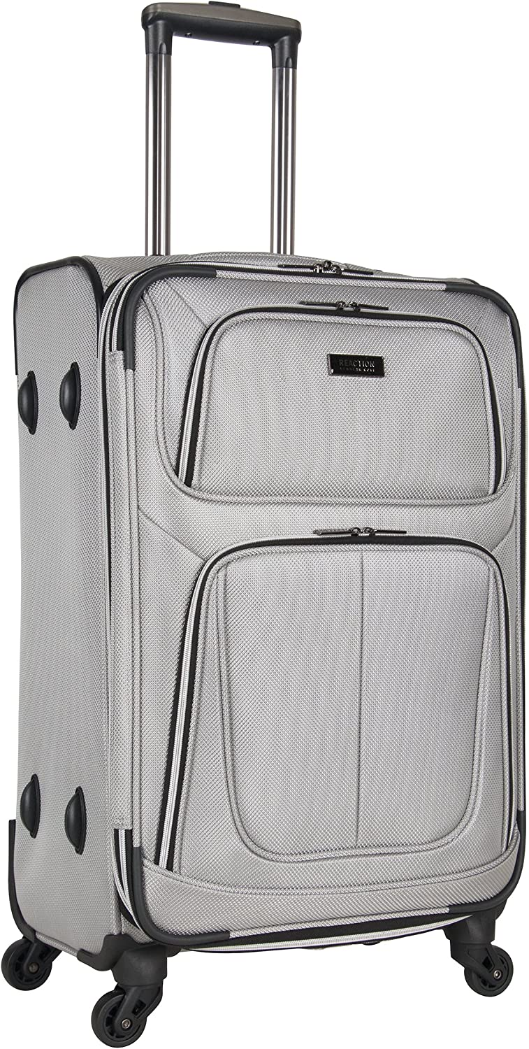 Light Silver Kenneth Cole Reaction Lincoln Square 24 1680d Polyester Expandable 4-Wheel Spinner Checked Luggage