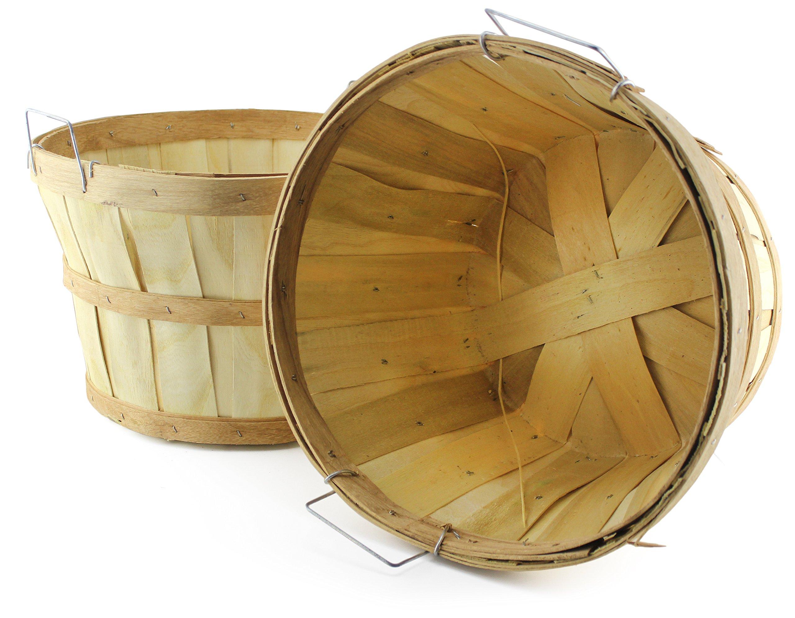 Wooden Half Bushel Baskets (2-Pack); Large Round Wood Farm Market Baskets for Decorating, Gardening, Fall Seasonal Displays (Natural, Tall)