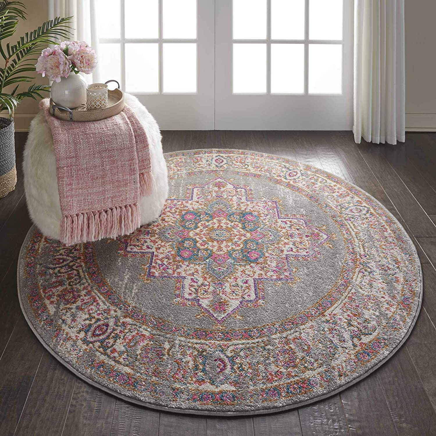 Nourison PSN03 Passion Bohemian Grey Area Rug 4'xROUND