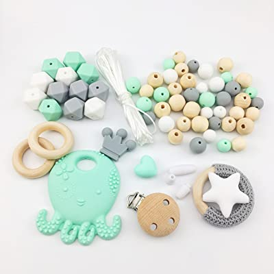Baby Love Home Baby Teething Accessories Silicone Octopus Pendant Wooden Beads DIY Jewelry Nursing Necklace Pendant Infant Waldorf Toy Baby Shower Gifts