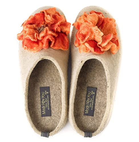 016ec70d9d Image Unavailable. Image not available for. Color: Handmade Women's 100% wool  slippers with flower and arch support insole