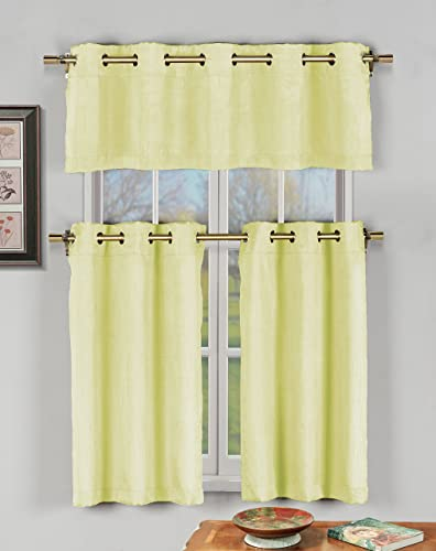 Duck River Textile Agnes Solid 3 Piece Kitchen Window Curtain Tier Valance Set, 2 30 x 36 One 60 x 16, Yellow