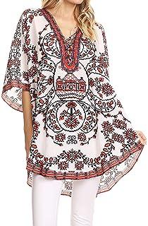 Blusa circular amplia de cuello en V Sakkas Tallulah con atados con borla y diamantes de