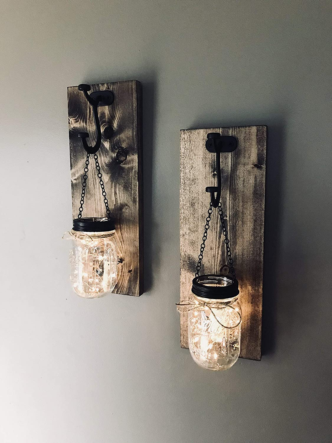 Mason Jar wall sconce set of 2 with LED lights, Farmhouse mason jar wall sconce set