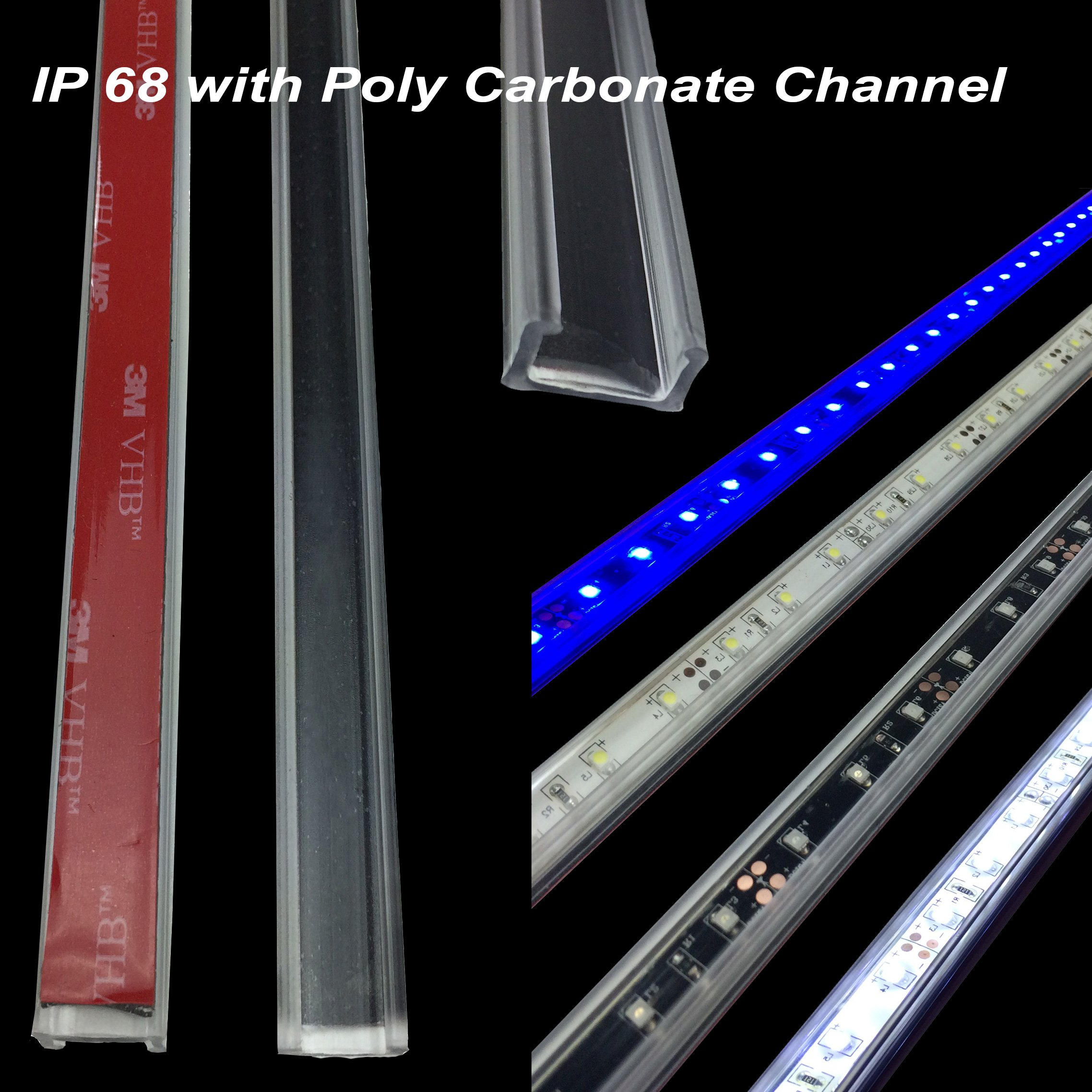 RecPro RV 12' Blue LED Awning Party Light 12V W/MOUNTING Channel - White PCB