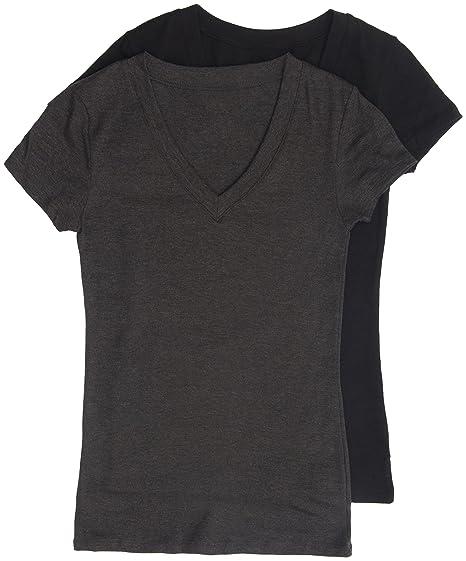80739595b 2 Pack Zenana Women's Basic V-Neck T-Shirts at Amazon Women's Clothing  store: