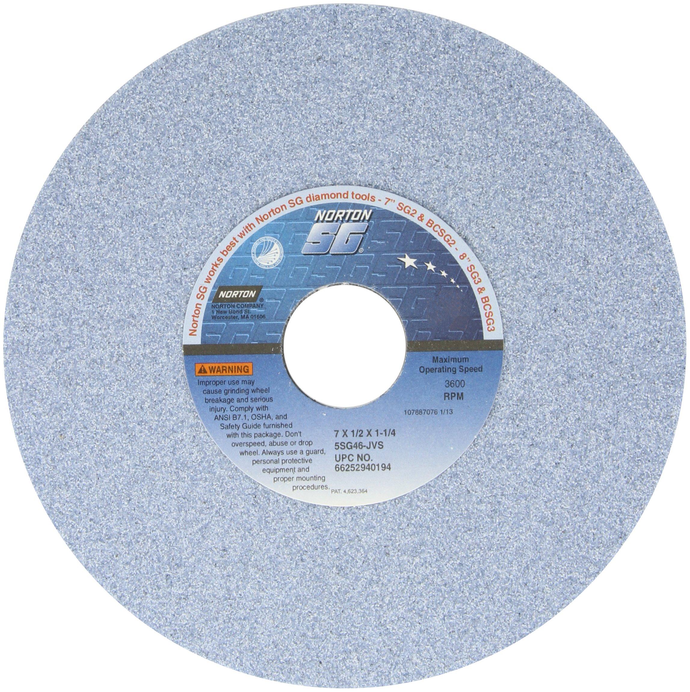 Norton 5SG Vitrified Toolroom Abrasive Wheel, Type 1 Straight, Ceramic Aluminum Oxide, 1-1/4'' Arbor, 7'' Diameter, 1/2'' Thickness, 46-J Grit (Pack of 1)