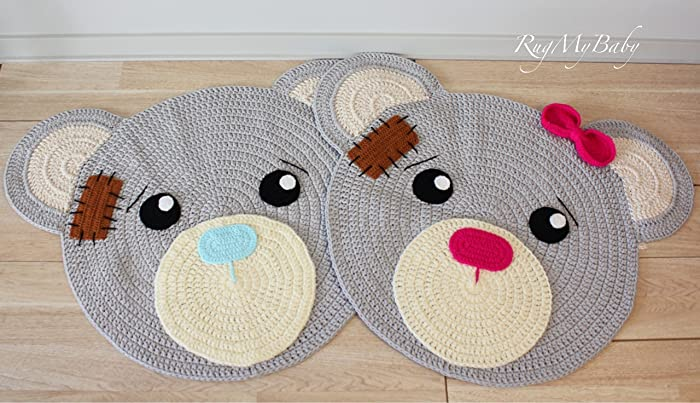 Amazon Com Round Rugs Baby Rug Nursery Rugs Cute Bear Design Home