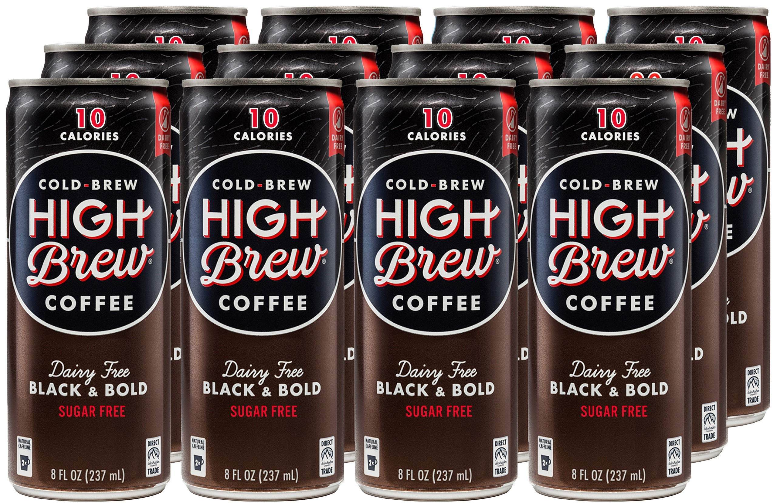 High Brew Cold Brew Coffee, Black & Bold, Dairy Free, 8 Ounce Can (12 Count) by High Brew Coffee