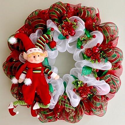 extra large elf handmade deco mesh christmas wreath 28 inch diameter - Deco Mesh Christmas Wreath