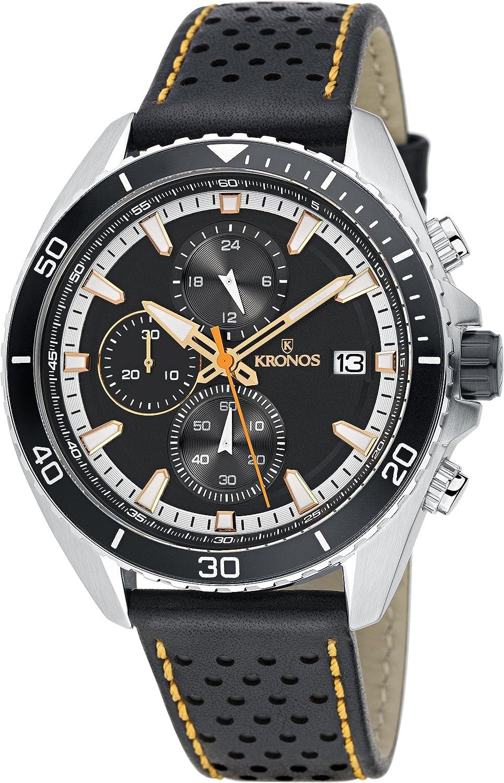 KRONOS - Sport Q Racing Chrono Black K005.55 - Reloj de Caballero de Cuarzo, Correa de Piel, Color Esfera: Negra