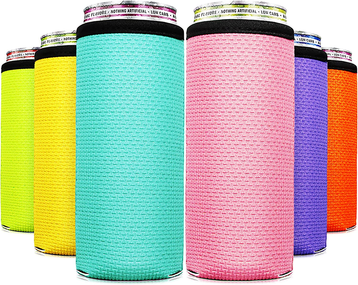 Skinny Can Coozie For Slim Cans Slim Can Cooler (6PCS) Slim Can Skinny Can Cooler Beer Coozies Slim Tall Can Coozie Can Coolers