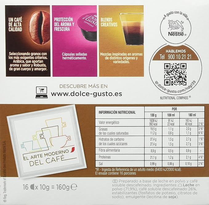 Nescafé Dolce Gusto - Café con Leche Descafeinado - 16 Cápsulas: Amazon.es: Alimentación y bebidas