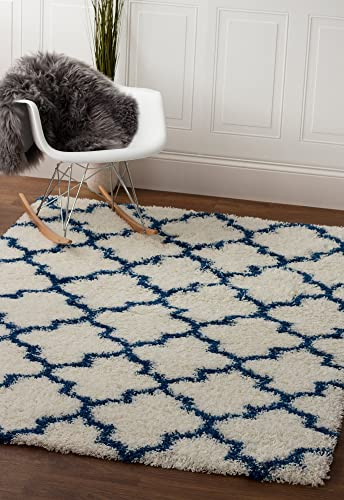 Super Area Rugs Moroccan Trellis Cozy Shag Rug for Home Decor 3 3 x 5 1 , White Blue