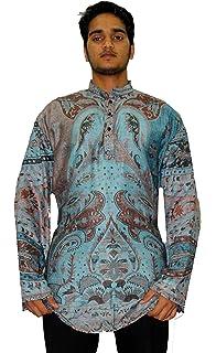 Lakkar Haveli Indian Men/'s Kurta Shirt Loose Fit Hand Loom Pashmina Silk Gold Color Paisley Print Plus Size