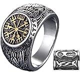 Gungneer Viking Compass Vegivisir Mens Rings Stainless Steel Viking Jewelry Men, Cool Viking Rings for Men, Viking Beard Bead