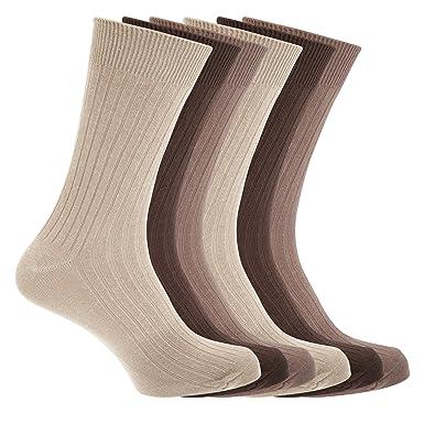 Floso - Calcetines acanalados 100% algodón hombre caballero (6 pares) (39-
