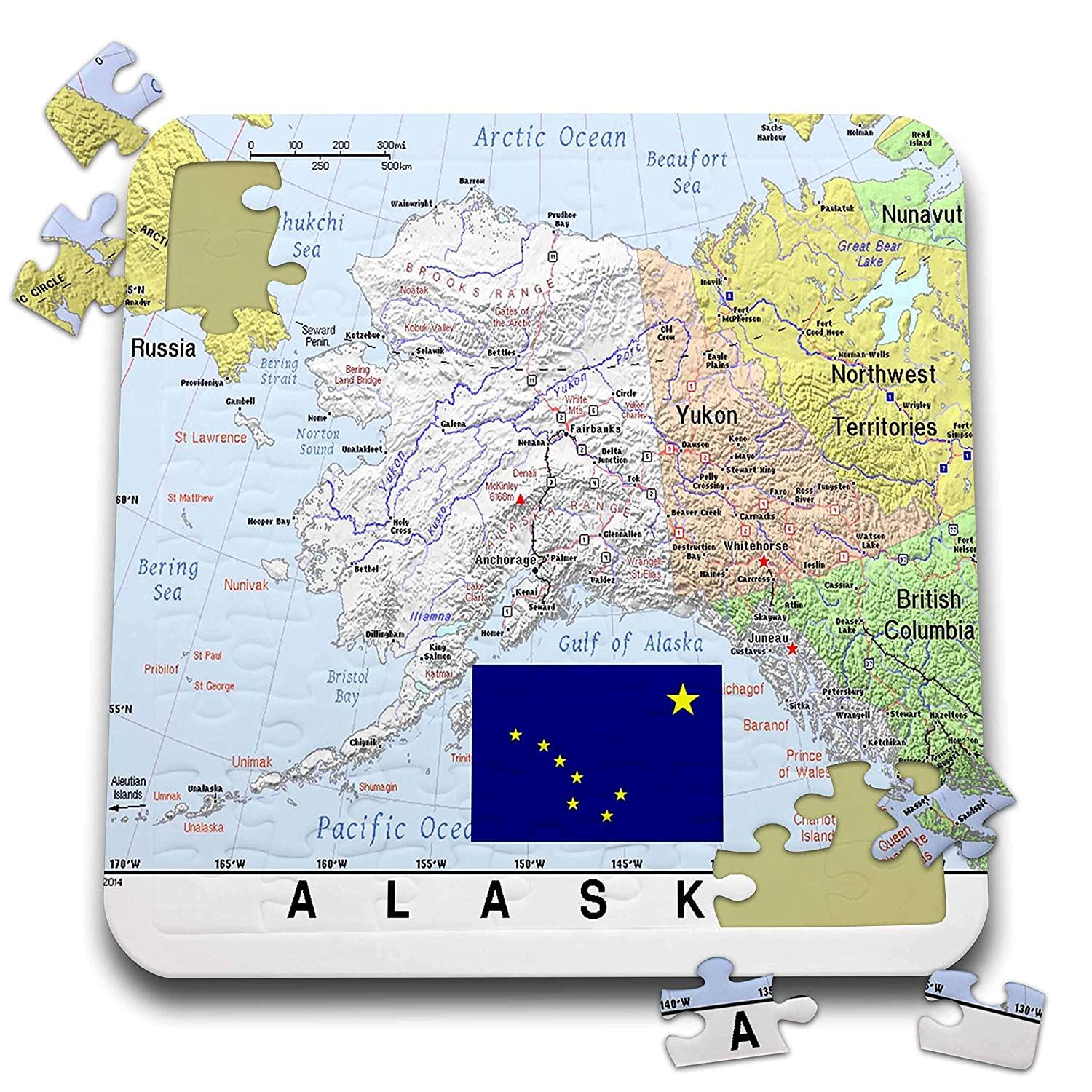 3dRose Lens Art by Florene - Topo Maps, Flags of States - Image of Alaska  Topographic Map n State Flag - 10x10 Inch Puzzle (pzl_291396_2)