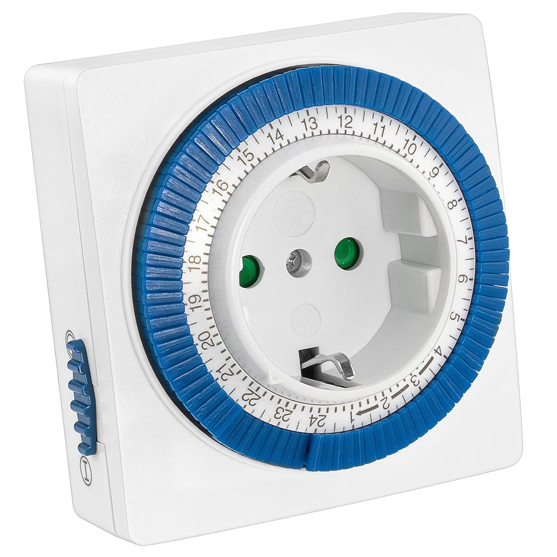mumbi 23569-Zeitschaltuhr mechanische Zeitschaltuhr 3500W-96 Schaltsegmente-Schaltknopf f/ür EIN//Auto-Funktion-einfache Bedienung