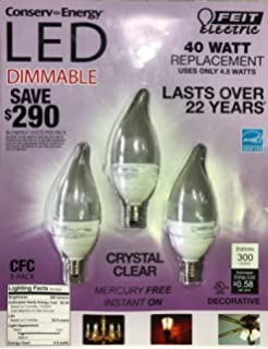 Feit 4.8 Watt=40 Watts LED Candelabra Light Bulbs 3-Pack 3000K
