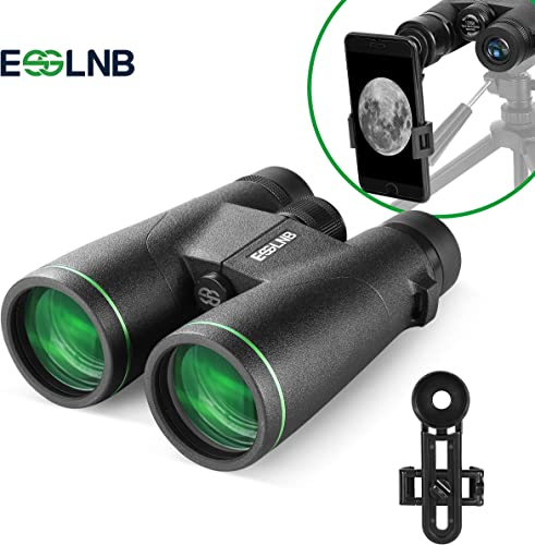 ESSLNB 12X50 Binoculars BAK4 Green Film FMC Waterproof Binoculars with Phone Adapter 22mm Large Eyepiece Compact Binoculars for Hunting Bird Watching
