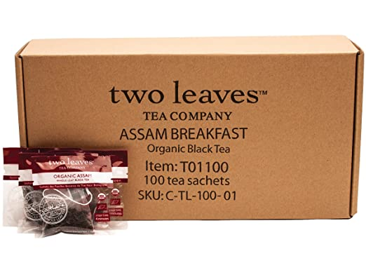 Two Leaves and a Bud Organic Assam Black Tea Bags, 100 Count, Organic Whole Leaf Full Caffeine Black Tea in Pyramid Sachet Bags, Delicious Hot or Iced with Milk, Sugar, Honey or Plain