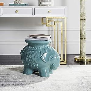 Safavieh Elephant Ceramic Decorative Garden Stool, Robin's Egg Blue