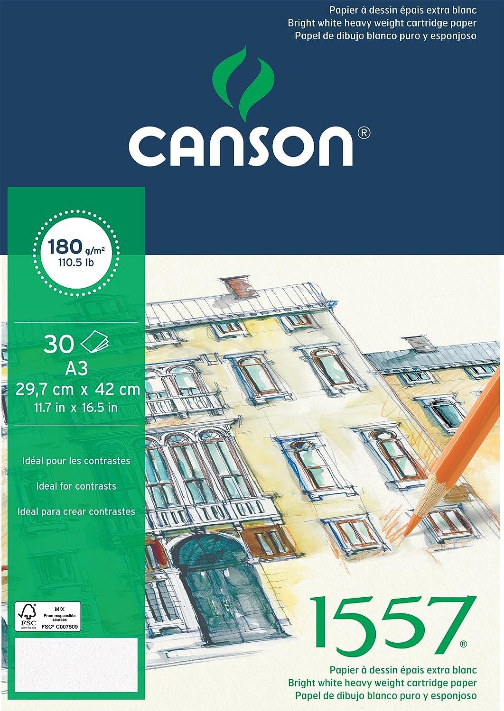 Canson 1557 - Blocco da 30 fogli di carta da disegno, 180 g, grana leggera, formato, colore: bianco puro 42 x 59,4 cm - A2 bianco puro 204127416