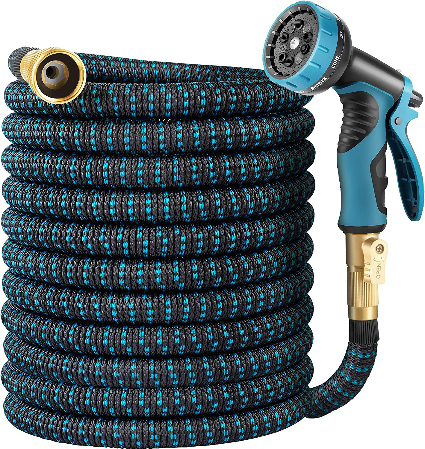 HARNMOR Expandable Garden Hose 50ft - Flexible Water Hose with 10 Function Nozzle, Double Latex Core and 3/4 Inch Solid Fittings,3 Times Expanding Kink Free Easy Storage Collapsible Water Hose
