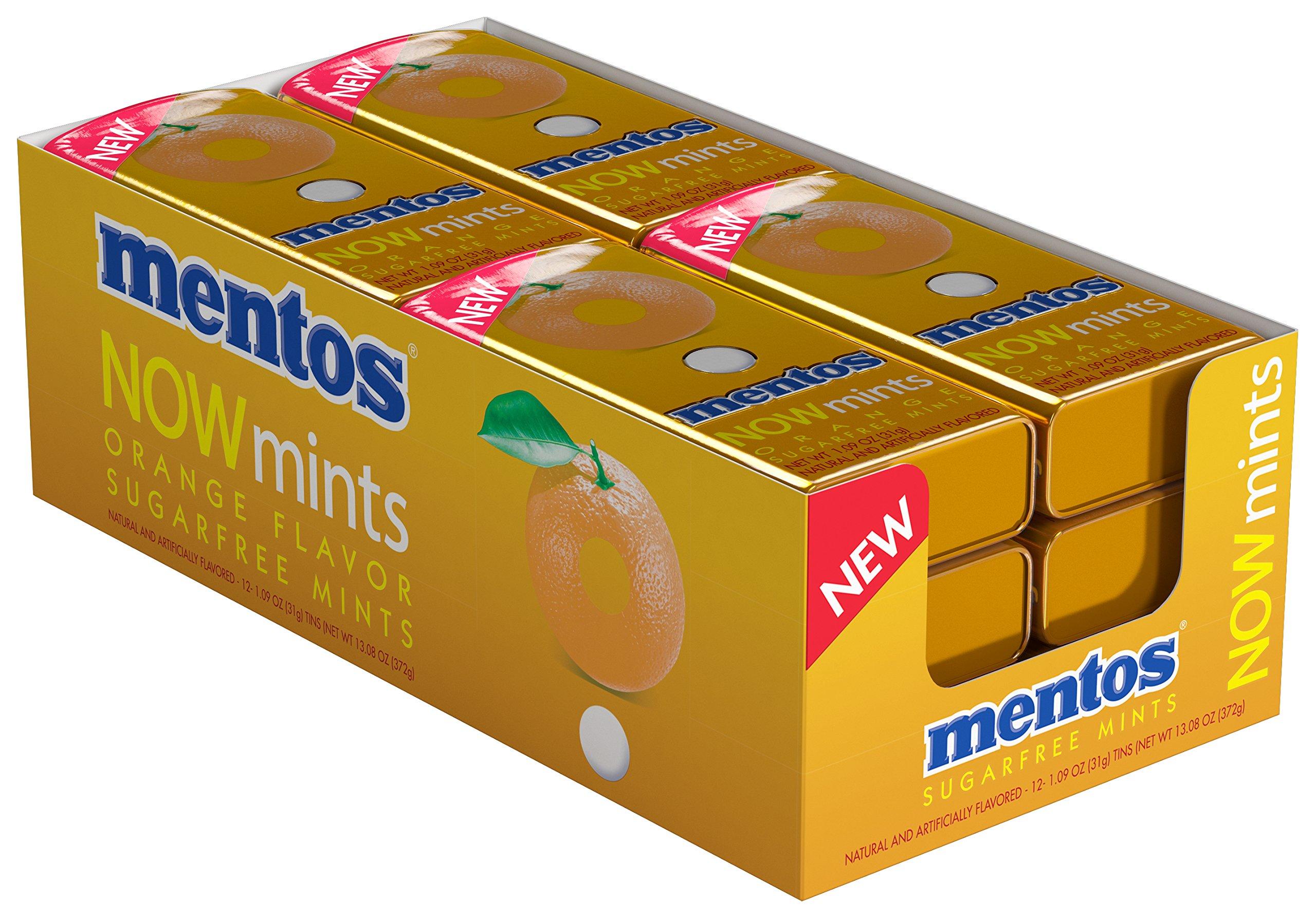 Mentos NOWMint Tin, Orange, 1.09 ounces/50 pieces (Pack of 12)