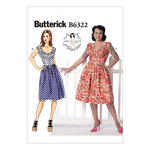 1950s Sewing Patterns | Dresses, Skirts, Tops, Mens Butterick Patterns B6322 Misses Ruched Corset-Style Dress Size A5 (6-8-10-12-14) $6.96 AT vintagedancer.com
