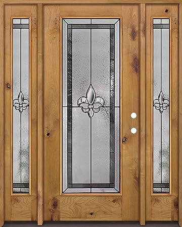 Full Lite Knotty Alder Wood Entry Door With Sidelites #KW45 Fleur De Lis