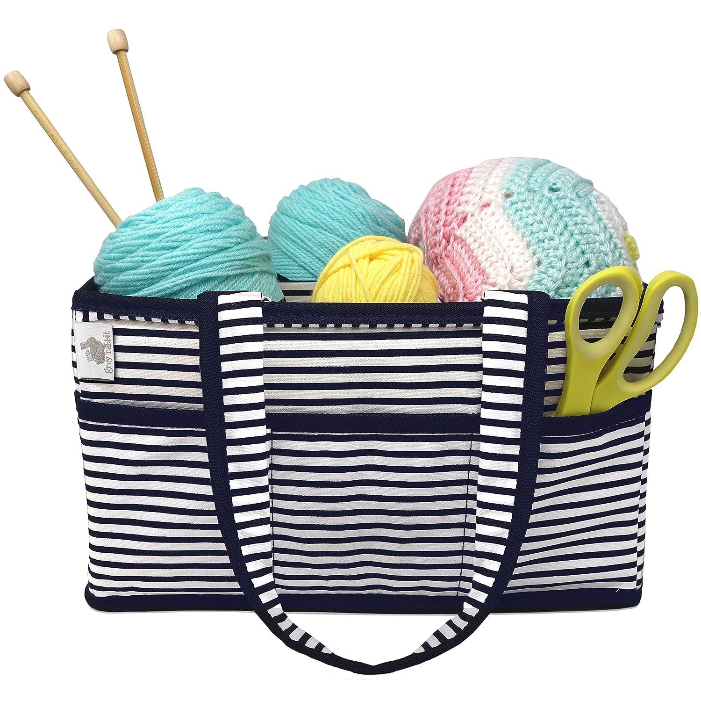 Premium Craft Caddy by Little Grey Rabbit | Knitting Storage Bin & Organizer Basket | Holds Yarn, Needles, Tape, More | Perfect Gift | Navy & White Nautical Stripe